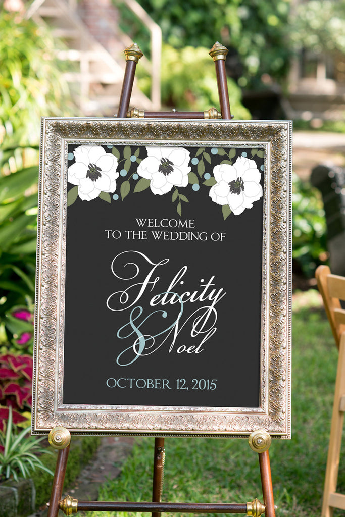Printable White Anemone Floral Wedding Sign