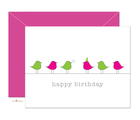 Happy Birthday Birds - Folded note cards