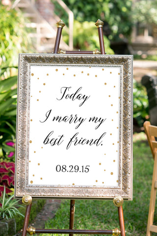 Printable Black and Gold Wedding Signs - Best Friend