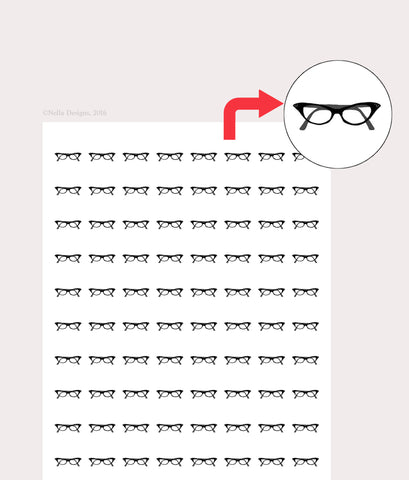 Personal planner stickers - cat eye glasses