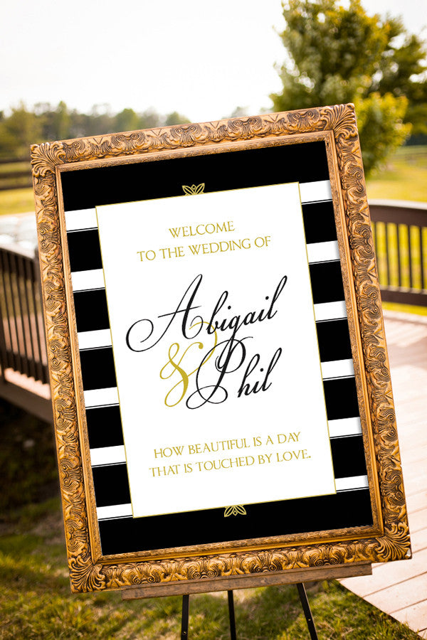 Printable Black and Gold Wedding Signs - Stripes