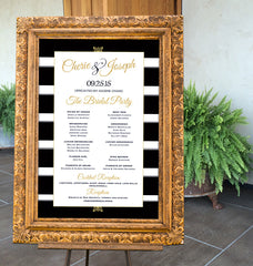 Printable Black & Gold Bridal Party and Reception Signs - Striped