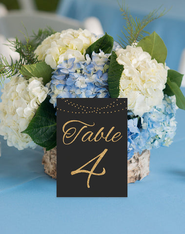 Printable Wedding Table Numbers - gold & black