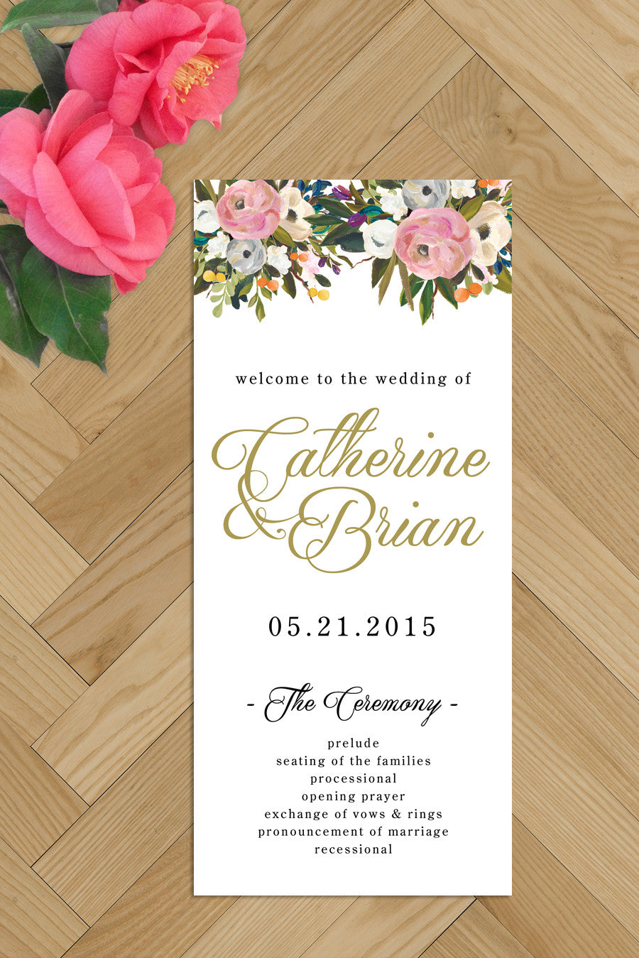 Printable Wedding Programs - blush and gold – Nella Designs