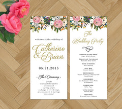 Printable Wedding Programs - blush and gold