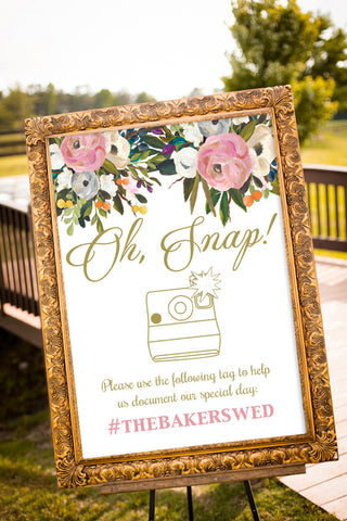 Printable Floral Bouquet Social Media Sign - Oh Snap!