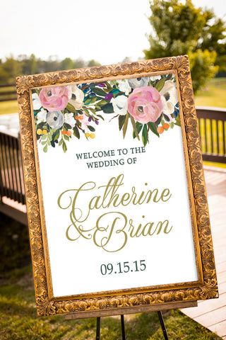 Printable Floral Bouquet Wedding Sign