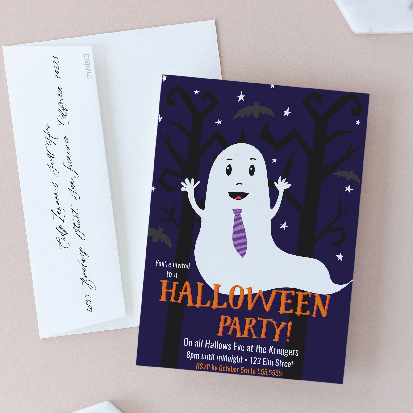 graphic relating to Printable Halloween Party Invitations named Printable Halloween Bash Invites - Spooky Ghost