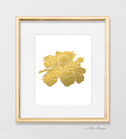 Gold botanical art prints