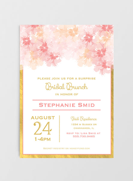 blush and gold bridal shower invitations  blush and gold