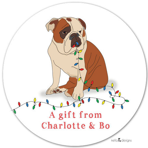 Personalized Holiday Gift Labels - Bulldog