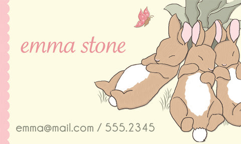 Custom Calling Cards & Inserts - Sleeping Bunnies