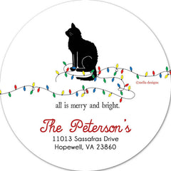 Personalized Cat Holiday Labels & Return Address Labels