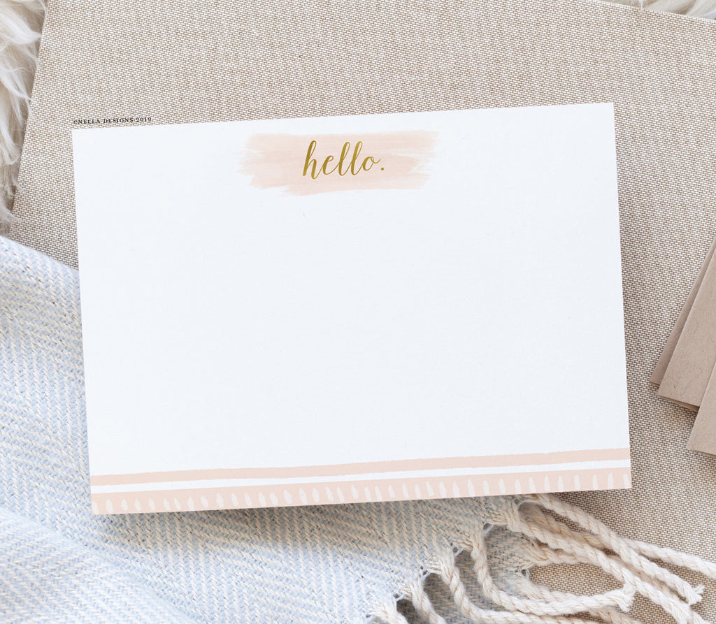 Pink and Gold Hello Note Cards