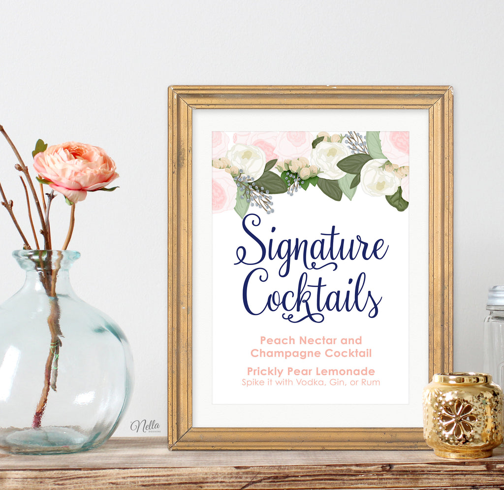 Wedding Signature Cocktails Printable Sign