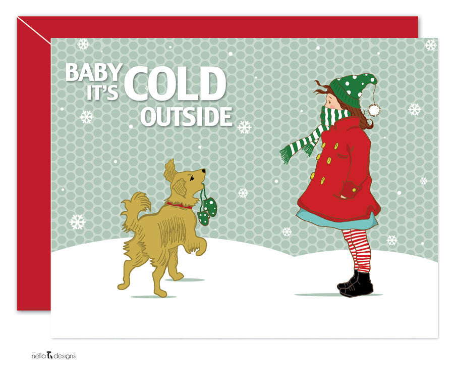 baby it's cold outside, holiday cards, christmas cards, goldren ...