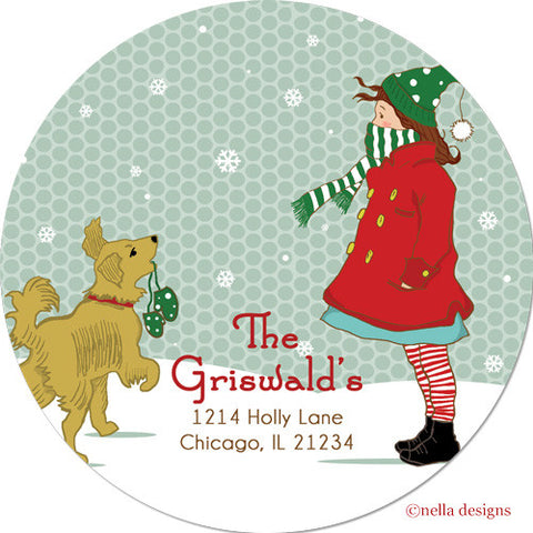 Baby It's Cold Outside Golden Retriever Personalized Stickers & Return Address Labels
