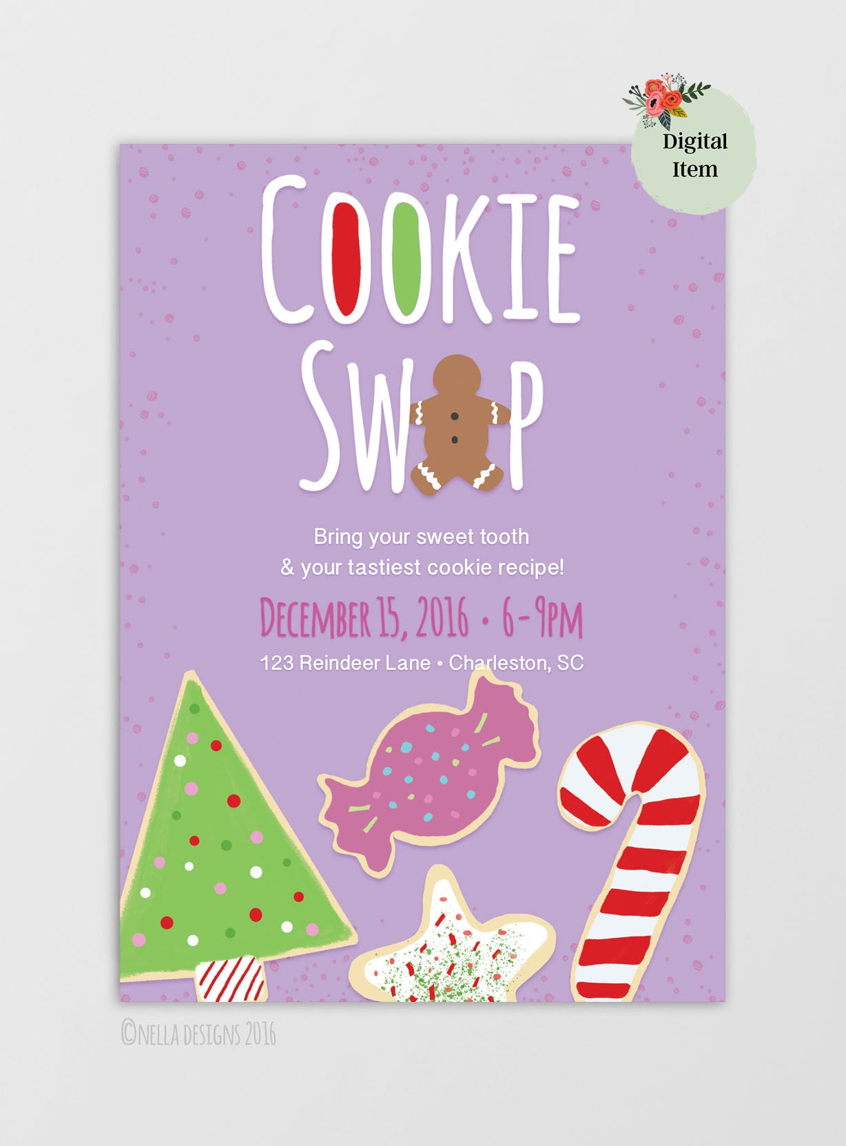 Christmas Cookie Exchange.Christmas Cookie Swap Holiday Cookie Exchange Printable Invitation