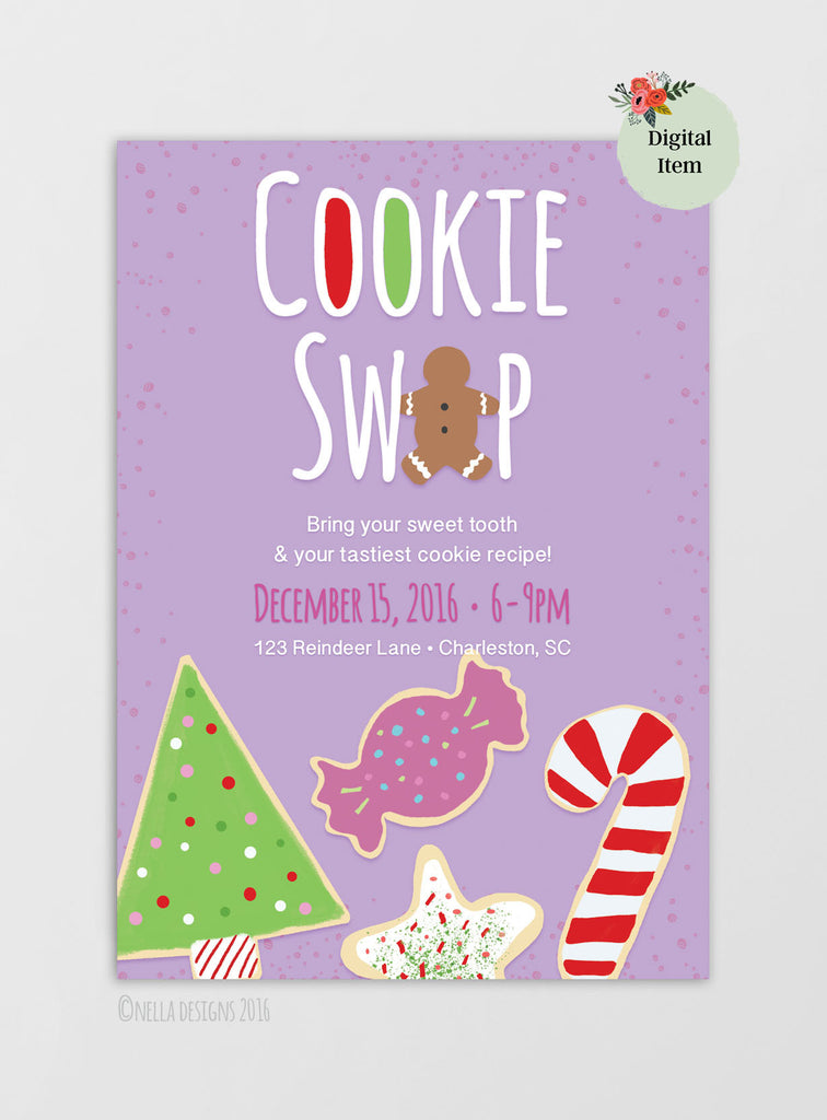 Christmas Cookie Swap / Holiday Cookie Exchange Printable Invitation