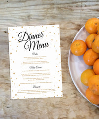 Printable Black and Gold Dinner Menus