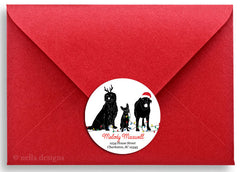 Personalized Christmas Stickers & Return Address Labels - Santa Dog