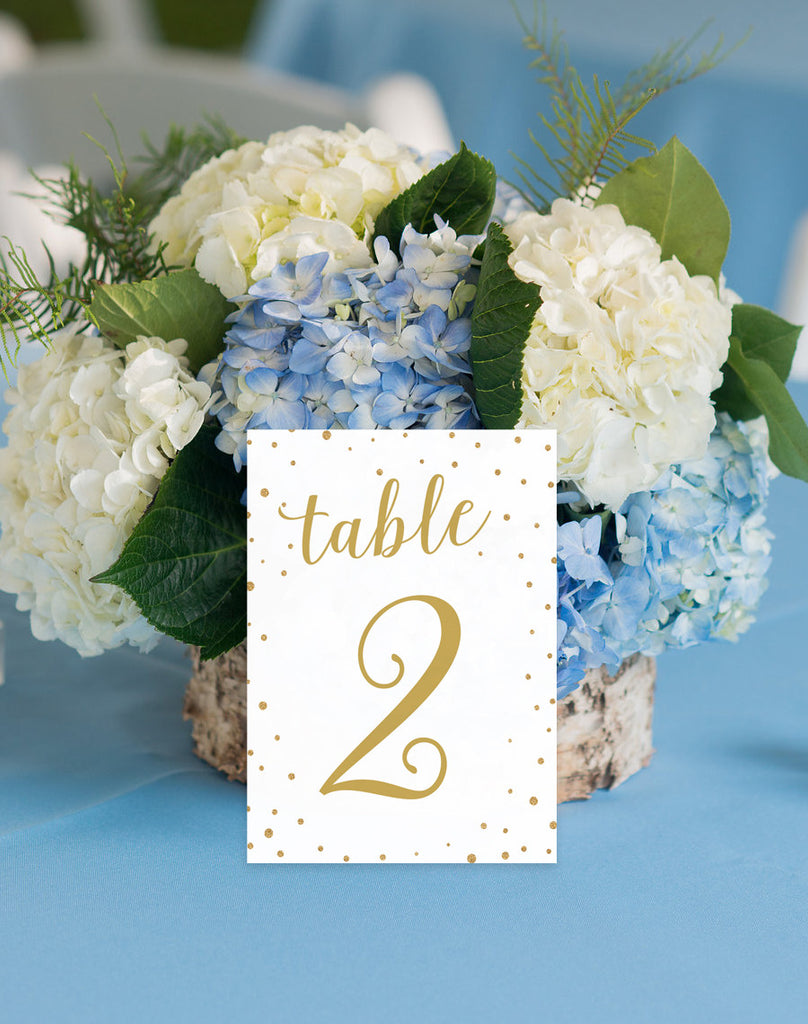 Printable Wedding Table Numbers - gold confetti