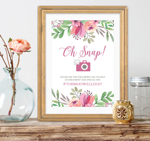 Oh Snap! Printable Wedding Hashtag Sign