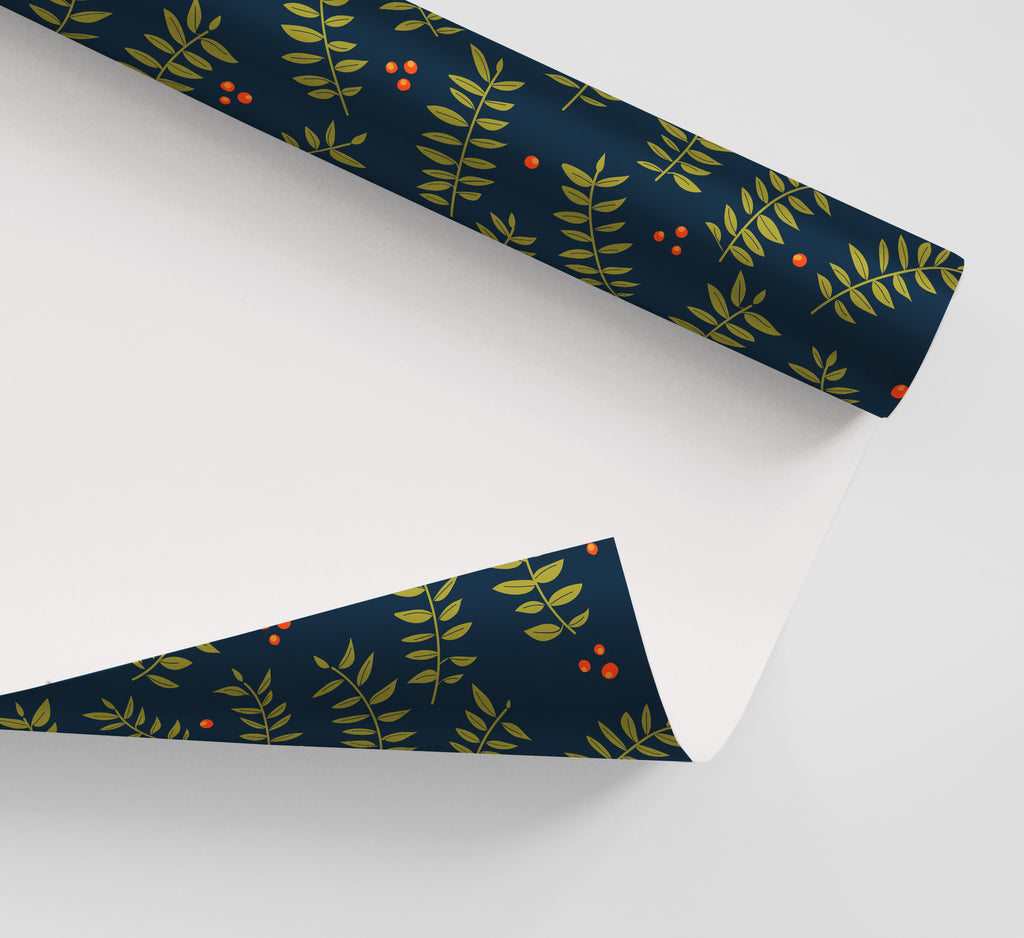 Navy Botanical Wrapping Paper