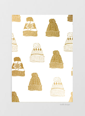 Gold and White Winter Hats Christmas Cards