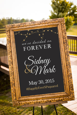Printable Chalkboard Wedding Signs - We decided on forever