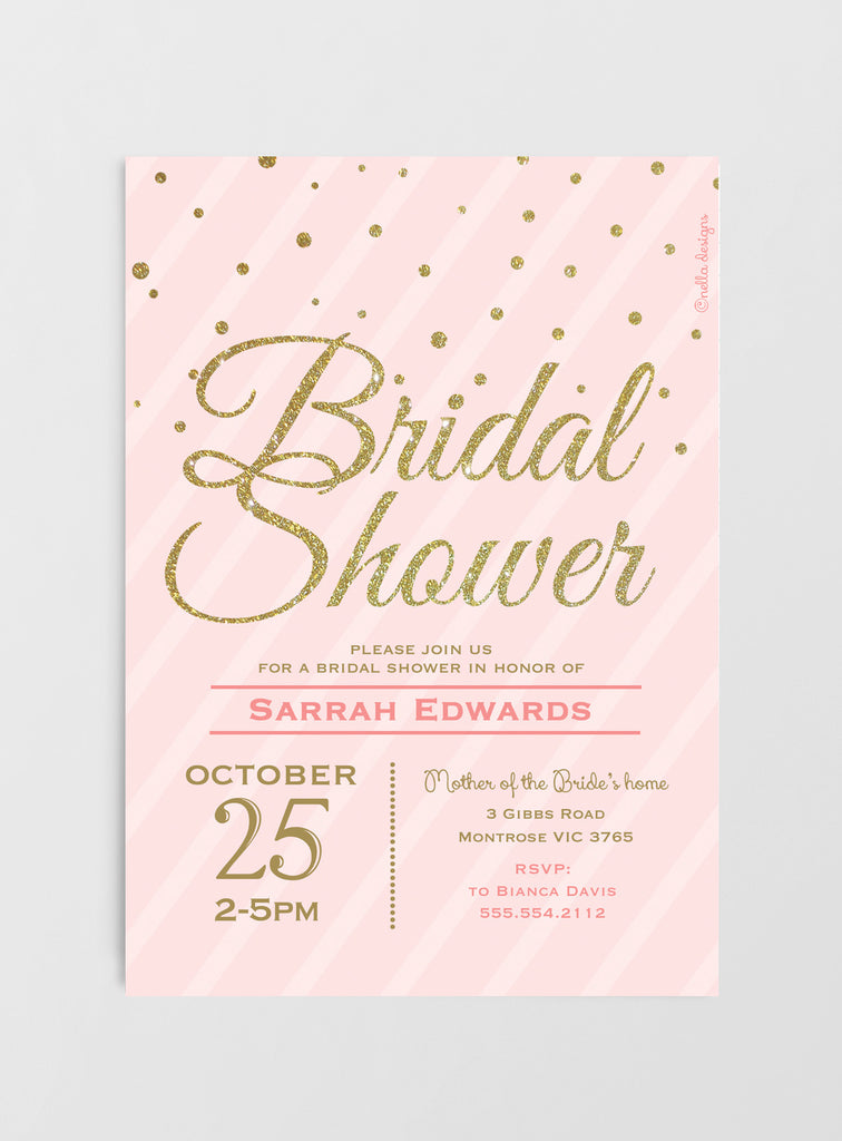 Blush Pink & Gold Glitter Bridal Shower Invitations