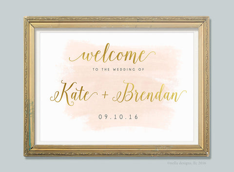 Blush and Gold Romantic Wedding Sign