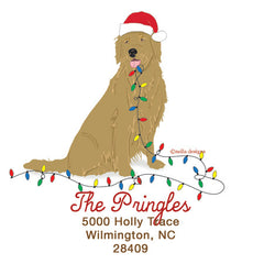 Personalized Christmas Labels & Return Address Labels - Santa Golden Retriver