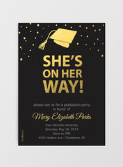 Graduation Invitations and Announcements - She's/He's on her/his way!