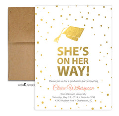 Graduation Invitations and Announcements - White Gold Foil