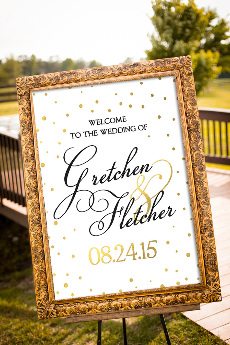 photograph relating to Wedding Signs Printable named Printable Black and Gold Wedding day Symptoms - Confetti