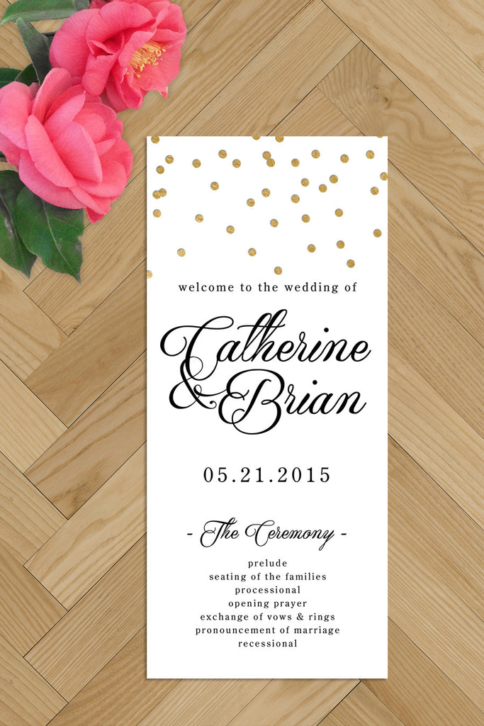 Printable Wedding Programs - black and gold confetti