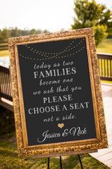 Printable Chalkboard Wedding Signs - Choose a seat, not a side