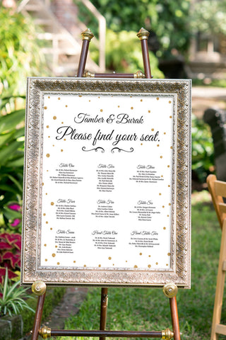 Printable Black and Gold Wedding Seating Chart Sign - Confetti