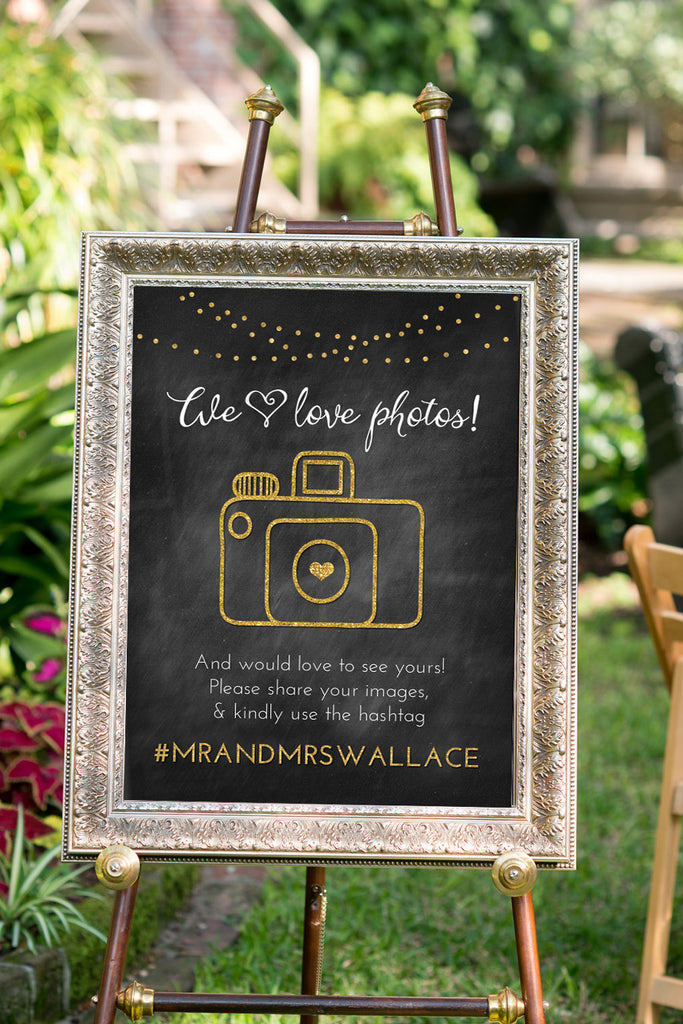 Printable Wedding Hashtag Sign - We Love Photos