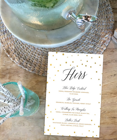 Printable Black and Gold Cocktail Menus