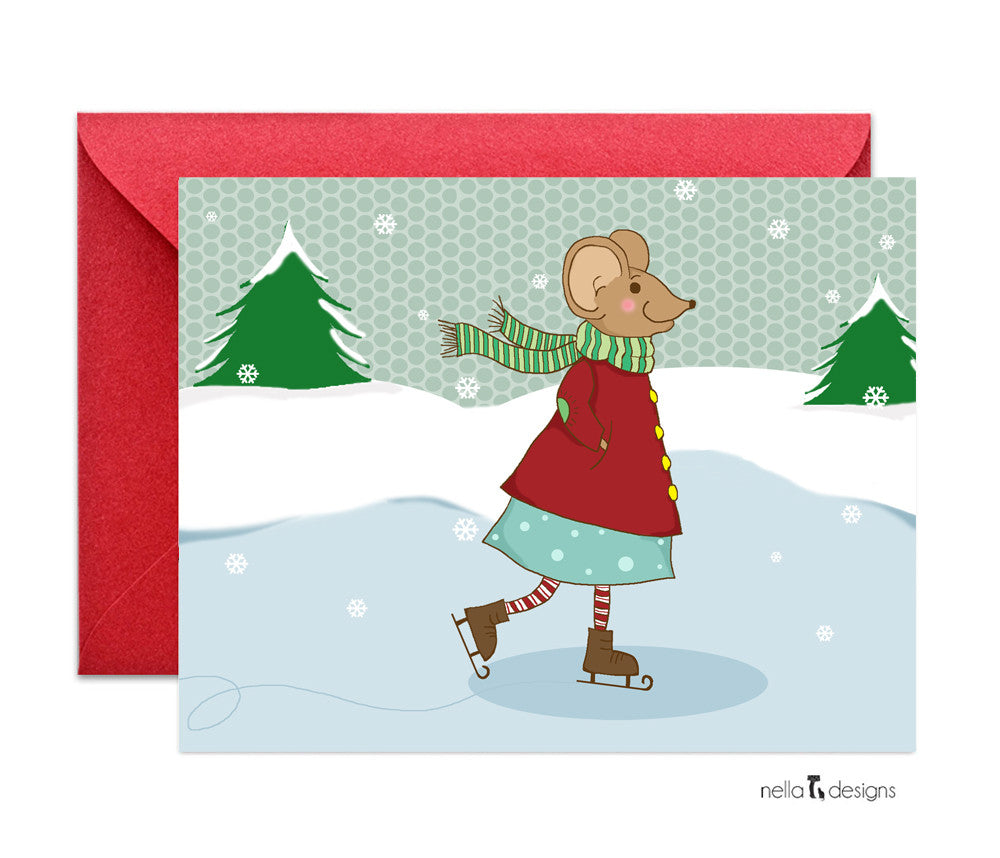 Skating mouse holiday cards