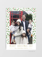 Holly Christmas Photo Card Download