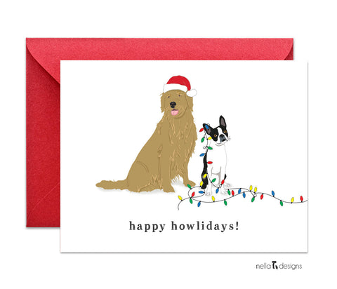 Happy Howlidays Christmas cards - Golden Retriever & Boston Terrier