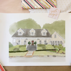 Custom Watercolor House Painting - DIGITAL