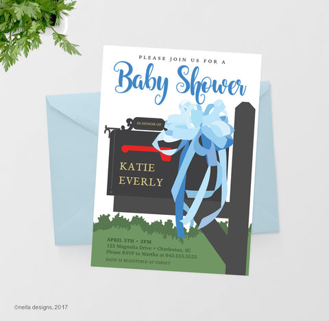 Blue Ribbon Baby Shower Invitation