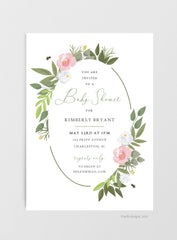 Bee Botanical Printable Baby Shower Invitations