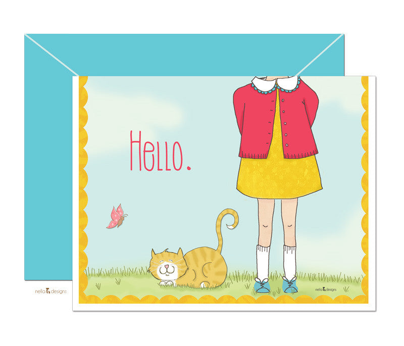 Cat stationery - Hi