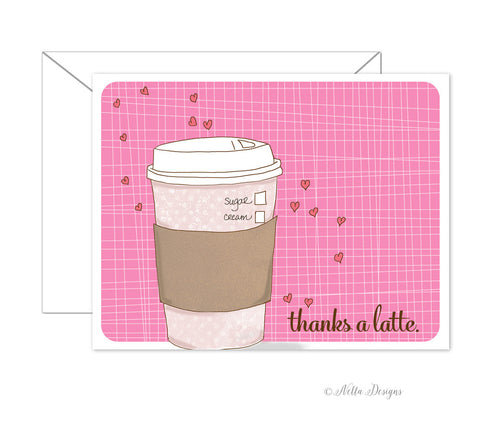 Thanks a Latte folded note cards