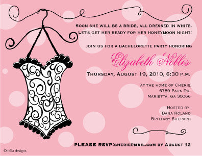 Custom cards for lingerie shower bridal showers and bachelorette lingerie bridal shower invitations filmwisefo